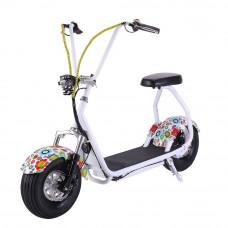 Электросамокат EL-Sport Mini Citycoco 800W белый с цветочками